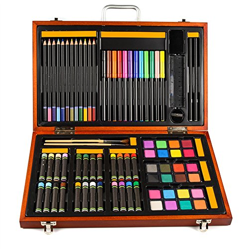 JIANGXIUQIN Artist Art Drawing Set, Art Craft Storage 76 Pieces - Luxury Super Wooden Box Art, Painting and Drawing Set, Sketch, Coloring, Children's Rich Imagination Gifts for Children and Children. by JIANGXIUQIN (Image #3)