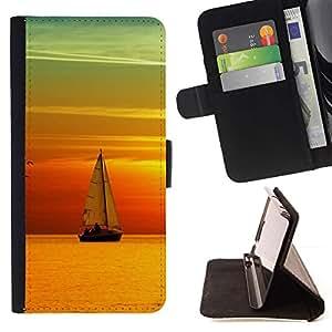 For Samsung Galaxy A3 Case , Teal Puesta del sol anaranjada Vela Mar Barco- la tarjeta de Crédito Slots PU Funda de cuero Monedero caso cubierta de piel