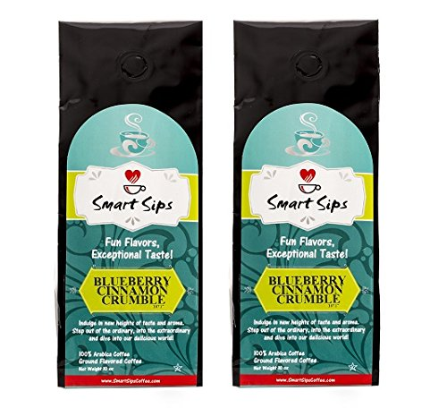 Smart Sips Coffee, Blueberry Cinnamon Crumble Ground Flavored Gourmet Coffee, Medium Roast, 20 Ounces