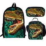 UNICEU 3D Dinosaur Backpack Kids Boys School Bag with Lunch Box Pencil Case 3 Piece For Sale