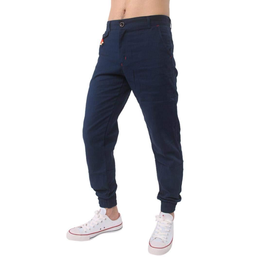 Realdo Clearance Casual Slack Solid Harem Sweatpants Loose Jogger Pant Sportwear Comfy for Men(Medium,Navy)