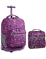 J World Combo Rolling Backpack & Lunch Bag Back to School Bundle Set Sunrise/Corey