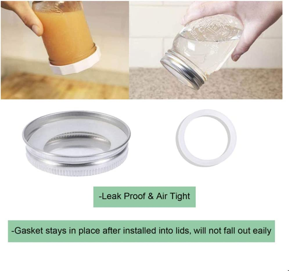 70mm UHBGT 20 Pcs Silicone Seal Rings for Jars Reusable Silicone Seal Gaskets Rings Flip Cap Lid Replacement Seals for Leak-Proof Mason Jar Lids Storage Cover
