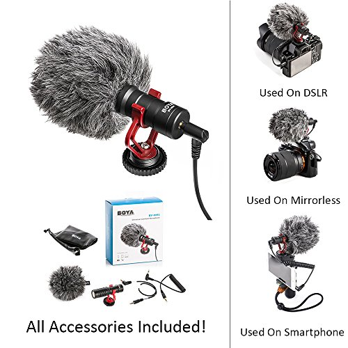 Compact Shotgun Microphone - Boya BY-MM1 BY Shotgun Video Microphone Universal Compact On-Camera Mini Recording Mic Directional Condenser for IPhone Android Smartphone Mac Tablet DSLR Camcorder, Black