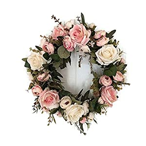 Adeeing Handmade Floral Artificial Simulation Peony Flowers Garland Wreath for Home Party Decor Pink 6