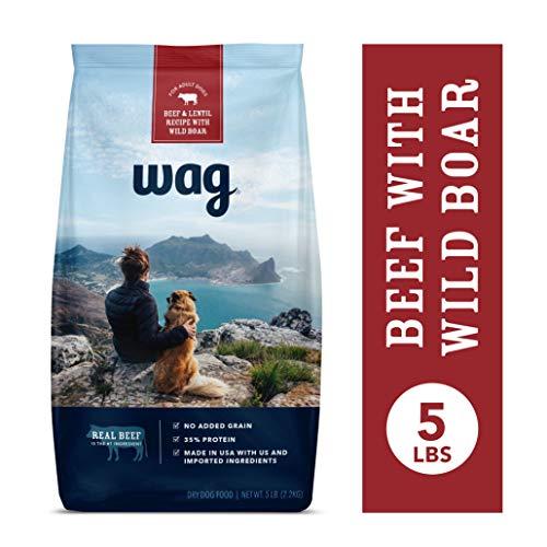 Amazon Brand - Wag Dry Dog Food Beef & Lentil Recipe with Wild Boar (5 lb. Bag) Trial
