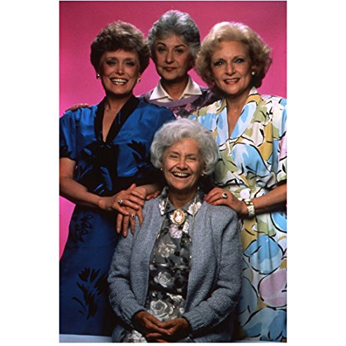 The Golden Girls (TV Series 1985 - 1992) 8 Inch x 10 Inch Photo from Slide Estelle Getty, Bea Arthur, Rue McClanahan & Betty White Pose 3 kn