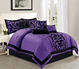 Full Bedroom Sets for Sale Empire Home Sarah 8-Piece Flocking Comforter Set Over Sized Bed in A bag - Purple (Full)