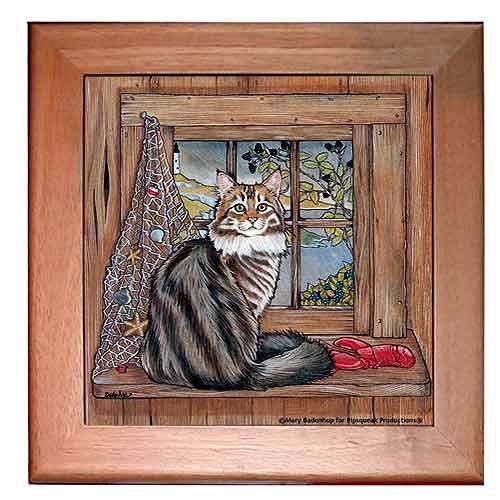 UPC 763974559874, Maine Coon Cat Trivet Hot Plate Wall Decor 8 x 8 Inch