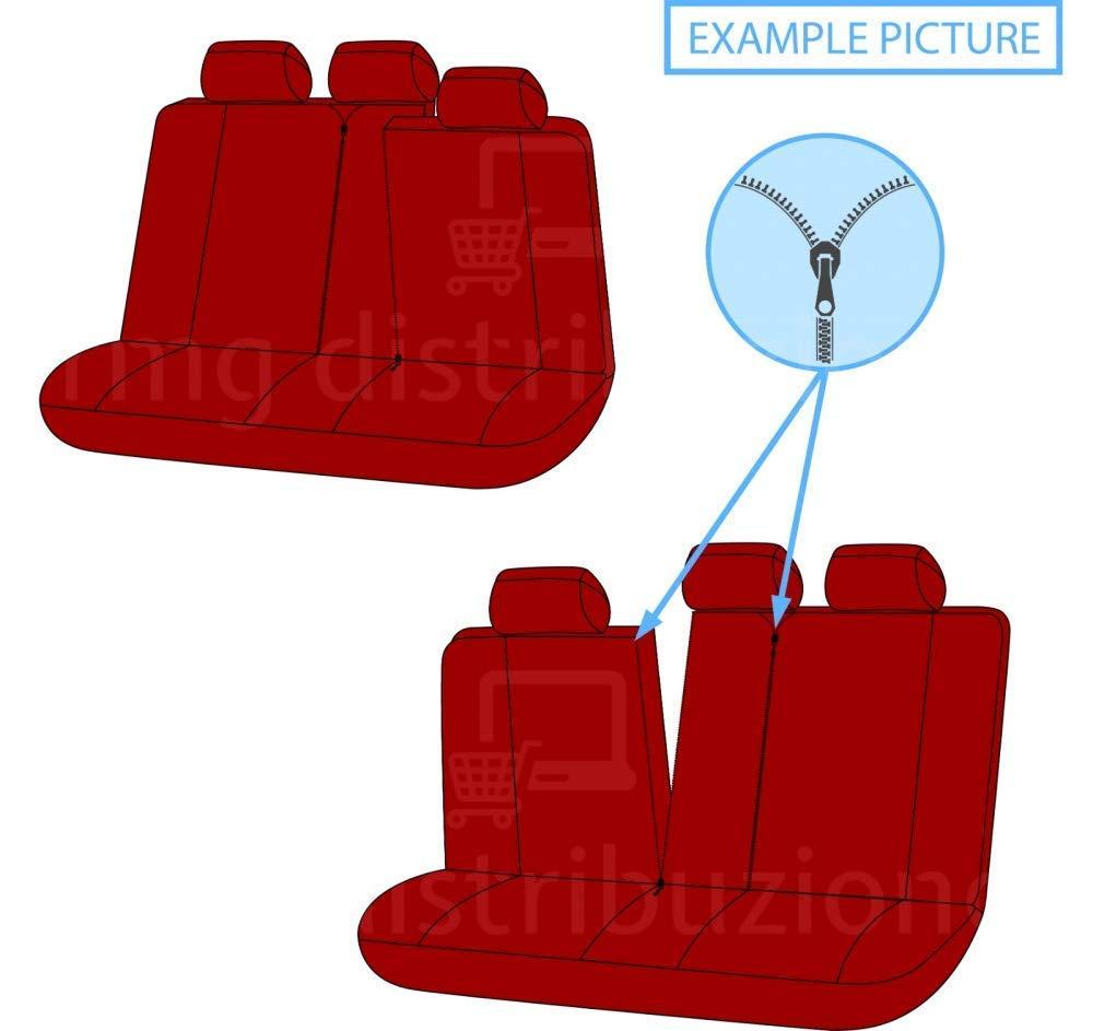 2010 - in Poi sedili Posteriori sdoppiabili Colore Nero Rosso R20S0090 rmg-distribuzione Coprisedili per Spark Versione bracciolo Laterale compatibili con sedili con airbag