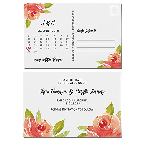 LoveAtEverySight, Floral Bloom, Save the Date Postcards for Weddings | Invitation & Invite Card | Wedding Announcement, Marriage Calendar - Personalized Customizable Cardstock- 4