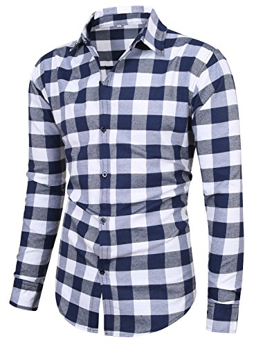 MIEDEON Men's 100% Cotton Long Sleeve Plaid Slim Fit Button Down Dress Shirt (L, Light Blue - White)