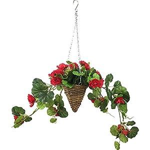 Lopkey Silk Artificial Begonia Vine Outdoor Indoor Patio Lawn Garden Mini Taper Hanging Basket,Red 57