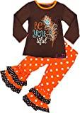 Boutique Clothing Girls Fall Thanksgiving Be Youtiful Ruffle Polka Dots Pant Set 3T/S