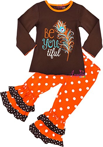 Boutique Clothing Girls Fall Thanksgiving Be Youtiful Ruffle Polka Dots Pant Set 3T/S by Angeline