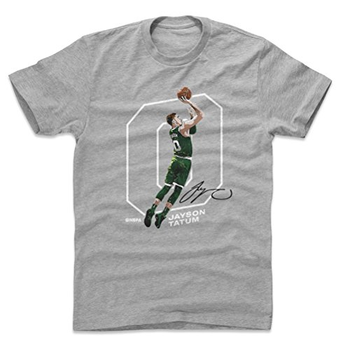 500 LEVEL Jayson Tatum Cotton Shirt Large Heather Gray - Vintage Boston Basketball Men's Apparel - Jayson Tatum Outline W WHT