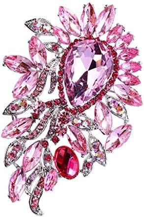 キラキラ 大きな水滴形 宝石 ラインストーン ブローチピン ブローチ ピンク