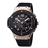 Megir Mens Chronograph Military Quartz Watch Black and Rose Gold Dial
