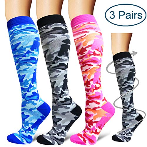 3 Pairs Compression Socks 15-20mmHg for Women&Men-Best for Running,Cycling,Sports,Nurse,Warm (Small/Medium, Multicolor 06)