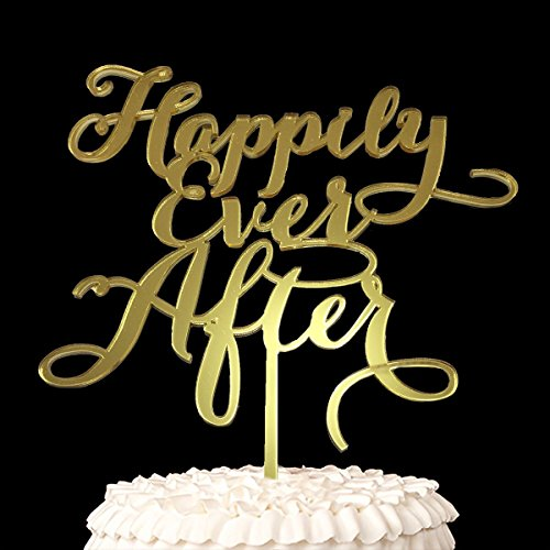 Wedding Anniverary Cake Topper Happily ever after (Mirror Gold)