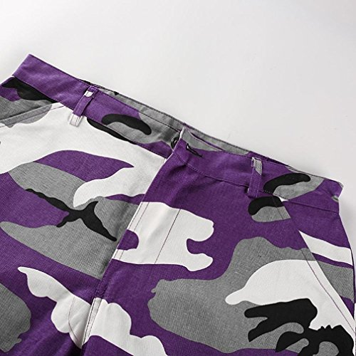 Taille Chic Outdoor Casual ADESHOP Sports Camouflage Haute Slim Cargo VTements Casual Camo Pantalons Violet Femmes Pantalon Jeans Impression qrqC7Zx