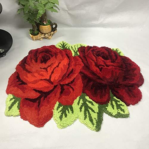 Ustide Vintage Rose Rug Red Handmade Bathmat Floral Rug Girls Bedroom Rugs Washable Non-Slip Floor Rustic Carpets