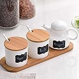 Ceramic Food Storage Condiment Server Pots with Bamboo Lid &Base- Modern Design Porcelain Jar- Perfect Canister for Sugar Bowl Serving Tea, Coffee, Spice, Salt,10.2 OZ (300 ML), Sugar Oil