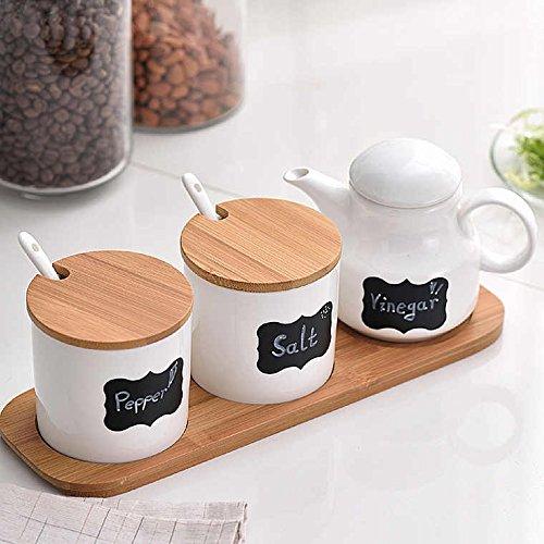 (Ceramic Food Storage Condiment Server Pots with Bamboo Lid &Base- Modern Design Porcelain Jar- Perfect Canister for Sugar Bowl Serving Tea, Coffee, Spice, Salt,10.2 OZ (300 ML), Sugar Oil)