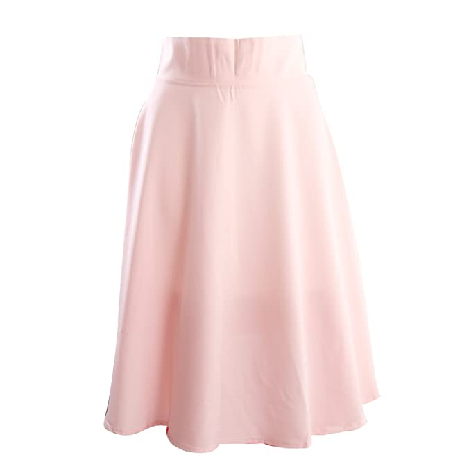 new styles f5f14 afca5 Phenovo OL Style High Waist Solid Color Big Swing Midi Skirt ...