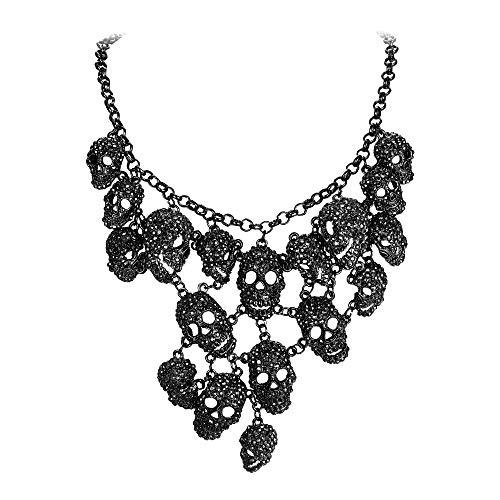 EVER FAITH Austrian Crystal Halloween Skull Cluster Bib Statement Necklace