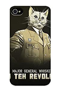 Fashion Tpu Case For Iphone 4/4s- Animals Cats Humor Funny Uniform Statement Whiskers Kien Military Revolution Defender Case Cover For Lovers