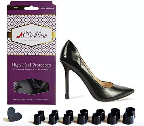 CLICKLESS High Heel Protectors - Heel Caps - 7 Pairs/7 Sizes (Black) for Slim Heels & Stilettos]()