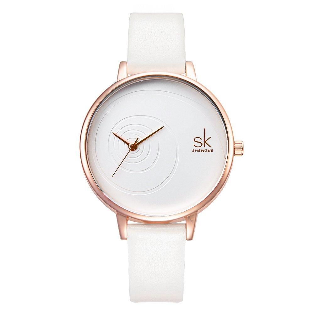 Amazon.com: SK Women Watches Leather Band Luxury Quartz Watches Girls Ladies Wristwatch (QQ White): Watches