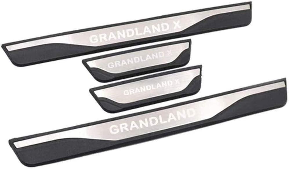 HHY-X 4Pcs Edelstahl T/ürschweller Abnutzung Platte Threshold Bar Car Styling Zubeh/ör f/ür Opel Grandland X SUV 2018 2019 Protektoren Trim Kick Plates Schutzpedal