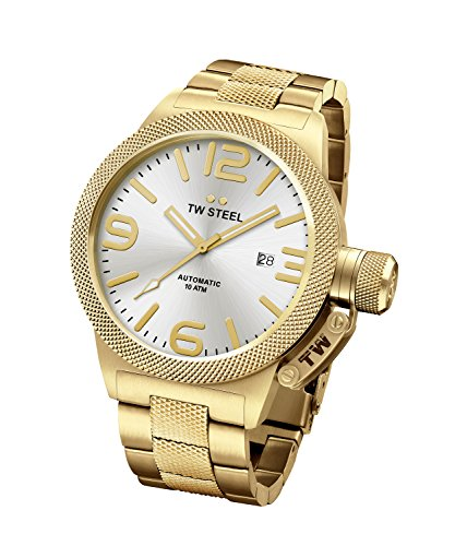 TW Steel CB85 Men's Canteen Bracelet Silver Tone Dial Yellow Gold Steel Automatic Watch