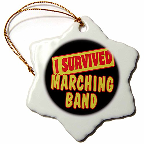 Ornament Band - 3dRose orn_118078_1 I Survived Marching Band Survival Pride and Humor Design Snowflake Porcelain Ornament, 3-Inch