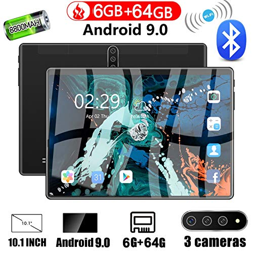 "FWKTG Tablet PC 10.1"" Inch Android 9.0 Tablet 4G Unlocked Phablet 6GB RAM 64GB Storage with Dual sim Card Slots and Cameras, Tablet PC with WiFi, Bluetooth, GPS, Dual Camera (Color : Green)"