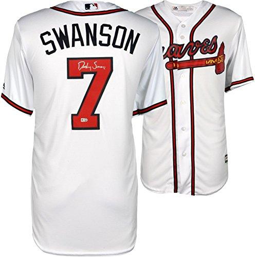 Dansby Swanson Atlanta Braves Autographed Majestic White Replica Jersey - Fanatics Authentic - Autographed Jersey