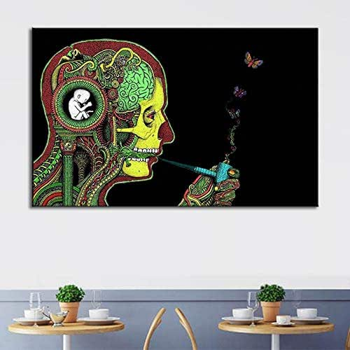 Personality Creative Abstract Smoking Decorative Canvas Painting Home Hotel Decorative Paintings Frameless Painting Core Foreign Explosives as Picture 30x40cm no Frame
