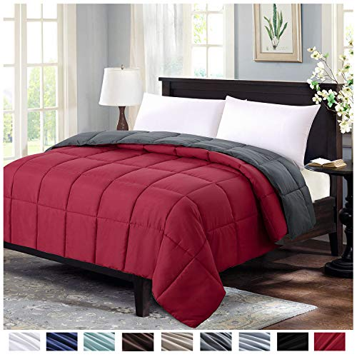Homelike Moment Lightweight Comforter King All Season Down Alternative Comforter Summer Duvet Insert Burgundy Quilted Bed Comforters Reversible with Corner Tabs King Size Burgundy/Dark Grey
