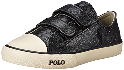 Polo Ralph Lauren Kids Carson II EZ Fashion Sneaker (Toddler), Black Glitter, 4.5 M US - Kids Ralph Discount Lauren