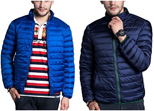 CHERRY CHICK Reversible Men's Light Weight Puffer Down Jacket (Small, Sky Blue-Navy)