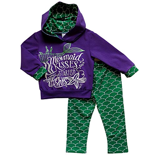 Mermaid Outfit For Kids (So Sydney Toddler Girls Novelty Stretch Cotton Hoodie Hooded Sweatshirt Outfit (L (5), Mermaid Purple & Green))