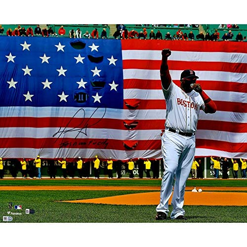 David Ortiz Boston Red Sox FAN Autographed Signed 16x20 Boston Strong Speech Photograph With This Is Our Fn City Inscription - Certified Signature