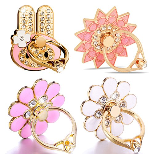 Finger Ring Stand, PartsExtra Animal Cat/Lion Head Shape/Love Heart Diamond Shape Phone Ring Grip Stand Holder for iPhone 6s 7 8 plus Samsung S7 Smartphone Ring stent Tablet (4 Pack - Cell Phone Charm Flower