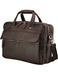 "Iswee Men' Leather Messenger Bag 14"" 16"" Laptop Case Fit 2 Laptops Briefcase Vintage Attache Case For Men"