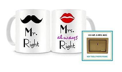 Paper Plane Design Mr. & Mrs. Right Couples Ceramic Printed Coffee Mug ,Set Of 2