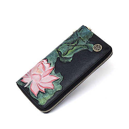 Leather Money Flower Female Bag Middle aged Flower 2018 Bag Party Long Clutch Travel Plant New Pattern Bag Retro tqvxgPzX