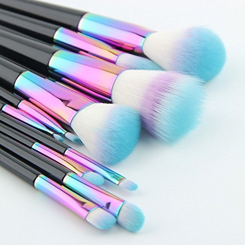 New Makeup Brushes Big 12 Pcs Set Rainbow Spectrum Anmor Siren Metallic Professional Brush Sets For Powder, Blush, Foundation, Concealer, Eyeliner, Eye Shadow
