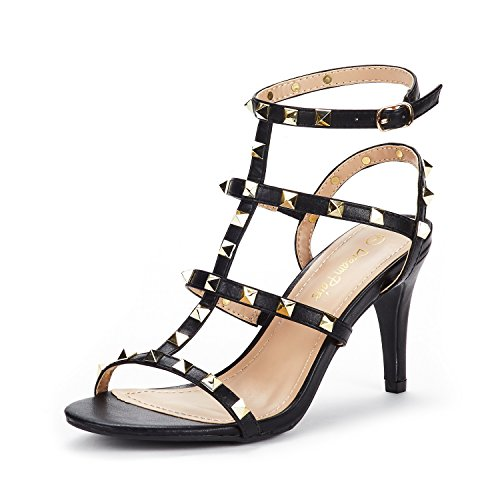 DREAM PAIRS Women's HEROINEE Black Fashion Stilettos Open Toe Pump Heeled Sandals Size 7.5 B(M) US ()